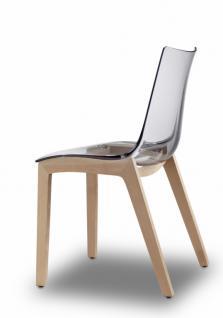 Design Stuhl Holz Buche Sitz schwarz transparent