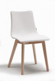 Design Stuhl natural Holz Buche weiß mit Ledersitz