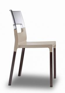Design Stuhl grau transparent Holz Buche wenge