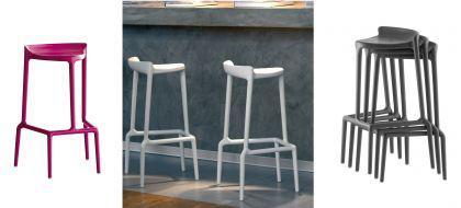 Barhocker weiß und in vier weiteren Farben, stapelbar, Sitzhöhe 75 cm - Vorschau 3