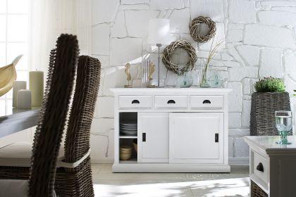 Buffetschrank im Landhausstil, mit drei Schubladen, in weiß - Vorschau