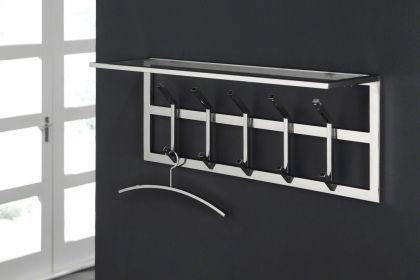 Wandgarderobe verchromt, moderne Garderobe mit 10 Haken und Ablage, Breite 90 cm - Vorschau
