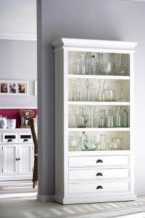 Bücherschrank im Landhaustil, drei Schubladen und drei Einlageböden in weiß