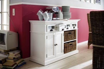 Buffetschrank im Landhausstil, mit vier Schubladen, in weiß