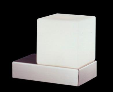 Tischleuchte Metall satin Glas weiß + Dimmer