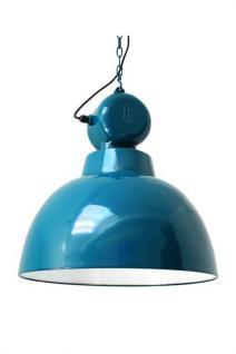 Pendelleuchte Fabrikart, Industriedesign Lampe, Farbe türkis-blau