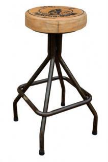 Barhocker aus Metall mit Lederbezug im Industriedesign, Sitzhöhe 76-87 cm - Vorschau 2
