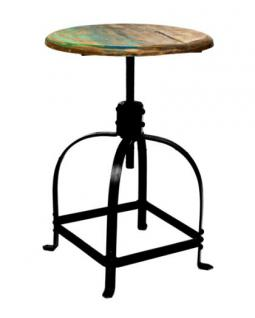 Barhocker aus Metall und Holz im Industriedesign, Sitzhöhe 42-58 cm - Vorschau 2