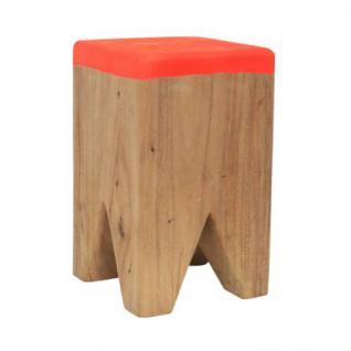 Hocker aus Holz massiv, Farbe orange-hellbraun, Sitzhöhe 41 cm