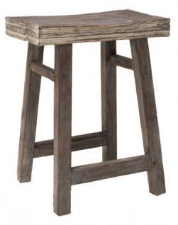 Hocker / Beistelltisch aus Holz, massiv, Farbe grau-braun, Sitzhöhe 54 cm - Vorschau 1