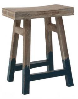 Hocker / Beistelltisch aus Holz, massiv, Farbe blau-grau-braun, Sitzhöhe 54 cm