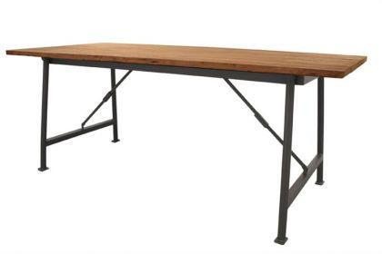 Industriedesign Esstisch aus Holz massiv und Metallgestell, 200 cm Länge