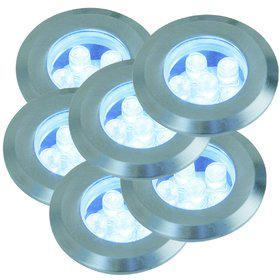 Einbauleuchte rostfreier Edelstahl PVC Glas LED 6er Set modern - Vorschau 2