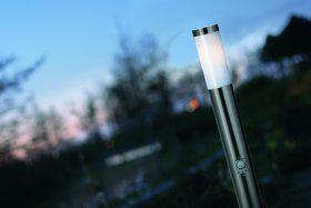 Stehleuchte rostfreier Edelstahl Metall Glas Outdoor Bewegungssensor