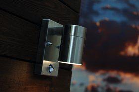 Wandleuchte rostfreier Edelstahl Metall Glas Outdoor Bewegunssensor