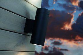 Wandleuchte Metall schwarz Glas Outdoor