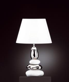 Design Tischleuchte, Keramik weiß/silberfarbig, Höhe 58 cm - Vorschau