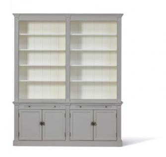 Bücherschrank im Landhausstil. Den Schrank gibt es in drei Größen: 1m, 2m und 3m und vier Farben