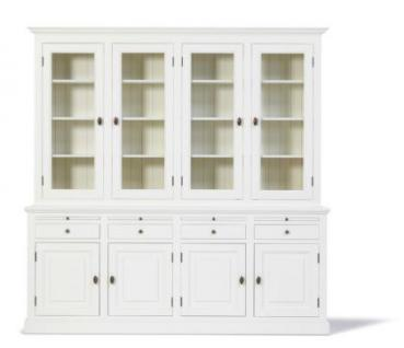 Vitrinenschrank, Geschirrschrank, Wohnzimmerschrank im Landhausstil in vier Farben und drei Größen - Vorschau 2