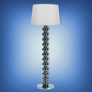 Moderne Stehleuchte mit verchromten Fuß und weißem Lampenschirm, Höhe 154 cm