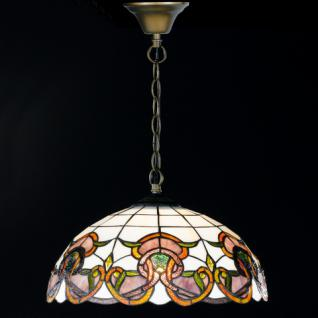 Design Pendelleuchte, champ/braun mit Dekor, Ø 40 cm - Vorschau