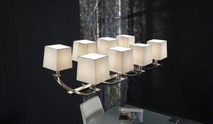 Hängelampe mit 8 weißen Lampenschirmen, Hängeleuchte verchromt, Maße 120x60 cm - Vorschau