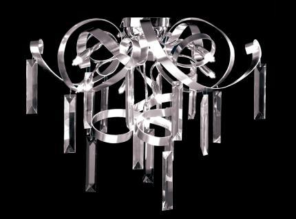 Deckenleuchte Metall chrom aluminium Kristall transparent modern dimmbar