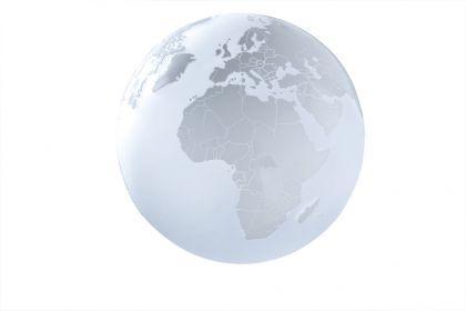 Tisch- / Bodenleuchte Glas weiß Weltkarte modern