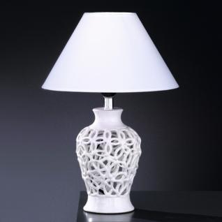 Design Tischleuchte, Keramik weiß/silberfarbig, Ø 27 cm - Vorschau