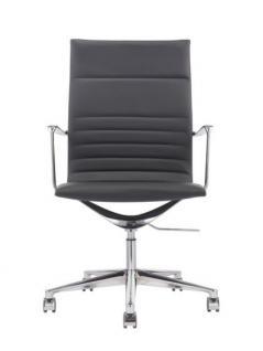 Designer Chefsessel mit Echtleder bezogen, Farbe schwarz - Vorschau 2