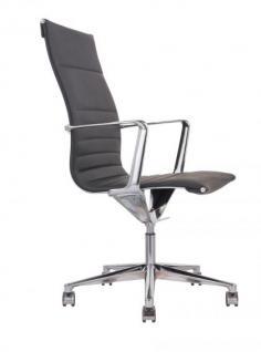 Designer Chefsessel mit Echtleder bezogen, Farbe schwarz - Vorschau 1