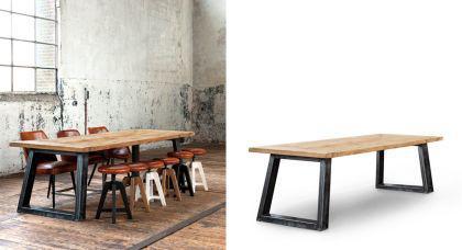 esstisch im industriedesign tischplatte aus eiche massiv. Black Bedroom Furniture Sets. Home Design Ideas