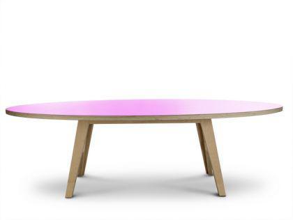 Ovaler Esstisch, Farbe rosa, Designtisch in fünf Größen