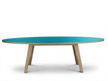 Ovaler türkiser Designtisch, Esstisch in fünf Größen - Vorschau 2
