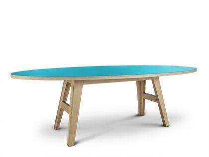 Ovaler türkiser Designtisch, Esstisch in fünf Größen - Vorschau 1