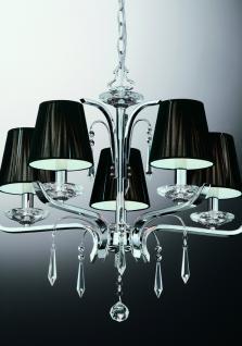 Kronleuchter Kristall transparent, Metall chrom, Stofffäden schwarz