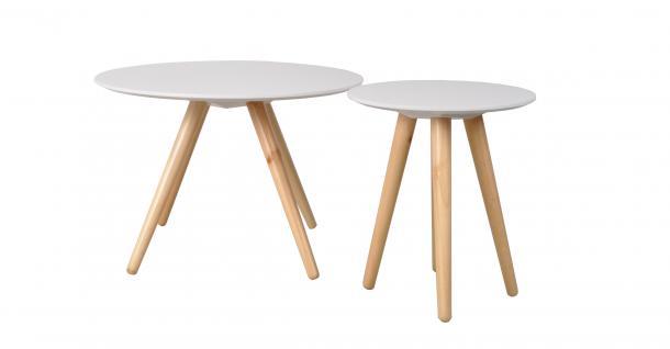 2er Set Beistelltische, Massivholz-MDF, Weiß, Ø 45 und Ø 75 cm - Vorschau
