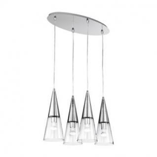 Pendelleuchte Metall chrom, Glas transparent, modern