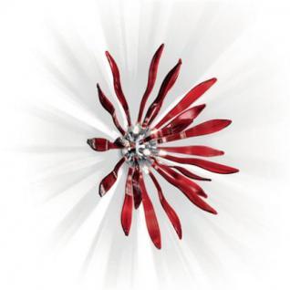 Wandleuchte / Deckenleuchte aus Glas und Chrom, Wandlampe in Farbe rot
