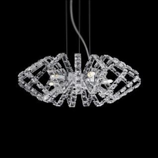 Pendelleuchte Metall chrom, Kristall Glas transparent, höhenverstellbar