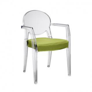 Design Stuhl mit Ploster klassisch Armlehne transparent