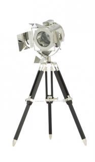Maritime Stativlampe - Tischleuchte Dreifuß, schwarz-chrom - Vorschau 1