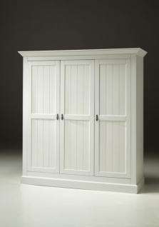 Kleiderschrank Hampton im Landhausstil mit drei Türen in weiß - Vorschau 2