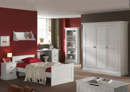 Kleiderschrank Hampton im Landhausstil mit drei Türen in weiß - Vorschau 1