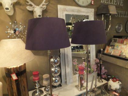 Klassische Stehleuchte, verchromt mit einem violetten Lampenschirm, 45 cm Durchmesser - Vorschau 2