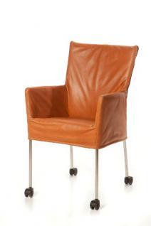 Moderner Stuhl auf Rollen, Farbe cognac - Vorschau 1