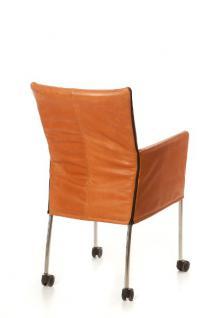 Moderner Stuhl auf Rollen, Farbe cognac - Vorschau 2