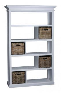 Bücherregal, Regal mit Rattankörben, massiv Holz, weiss im Landhausstil - Vorschau 3