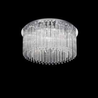 Deckenleuchte Glasrohre, Sternschnitt transparent, Metall chrom
