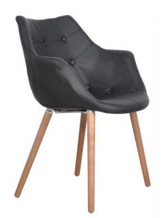 Designerstuhl mit Kunstleder bezogen, gepolstert in Farbe schwarz